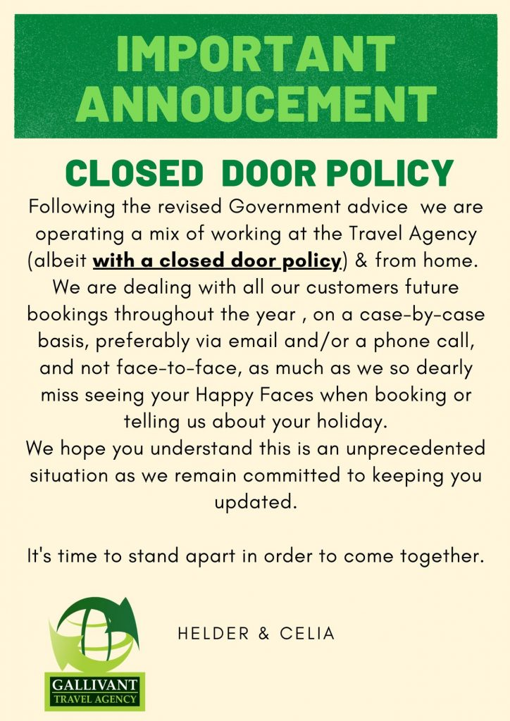 Gallivant Closed Door Policy